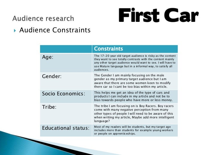    Audience Constraints                                Constraints          Age:                  The 17-20 year old targ...