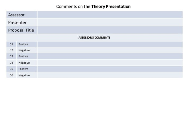 Comments on the Theory Presentation  Assessor Presenter Proposal Title ASSESSOR'S COMMENTS 01  Positive  02  Negative  03 ...