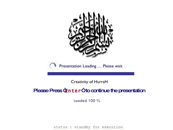 "Presentation Loading … Please wait Please Press "" Enter ""  to continue the presentation Creativity of HurraH Loaded 100 % ..."