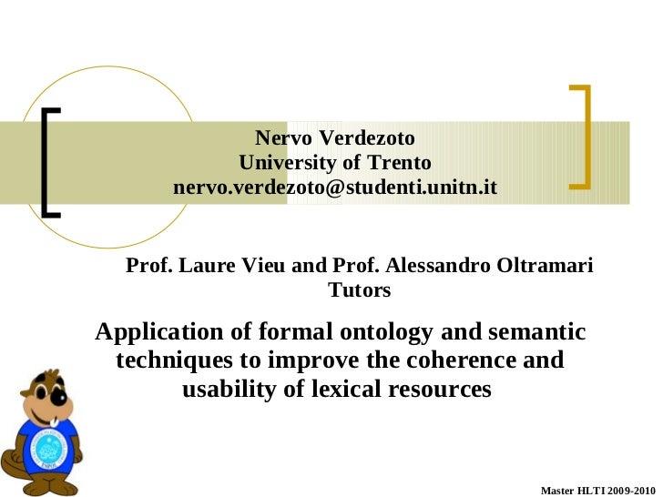 Nervo Verdezoto             University of Trento      nervo.verdezoto@studenti.unitn.it  Prof. Laure Vieu and Prof. Alessa...