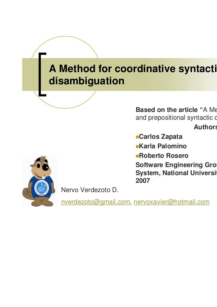 "A Method for coordinative syntacticdisambiguation                        Based on the article ""A Method for coordinative  ..."