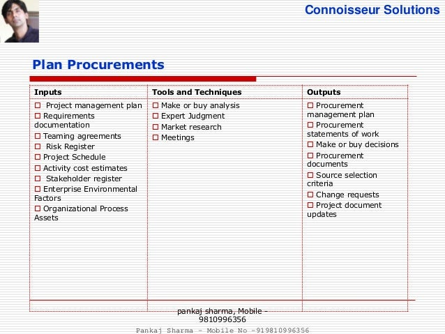 ... 5. Connoisseur Solutions Plan Procurements Inputs Tools And Techniques  Outputs  Project Management Plan  Requirements Documentation ...