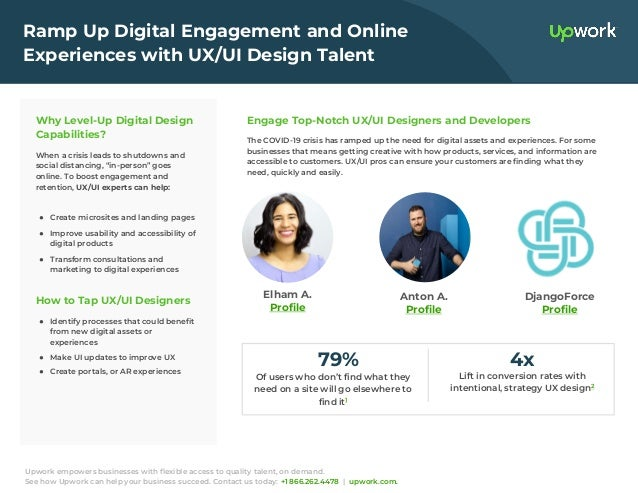Upwork empowers businesses with flexible access to quality talent, on demand. See how Upwork can help your business succee...