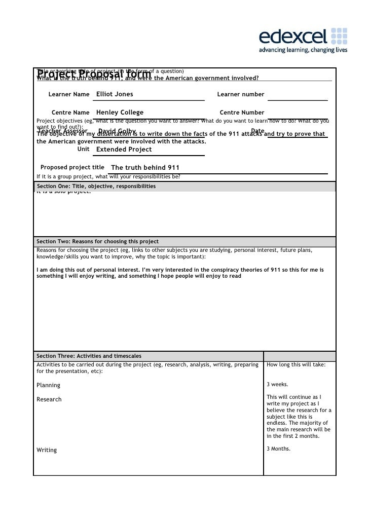 Project proposal form – Proposal Form