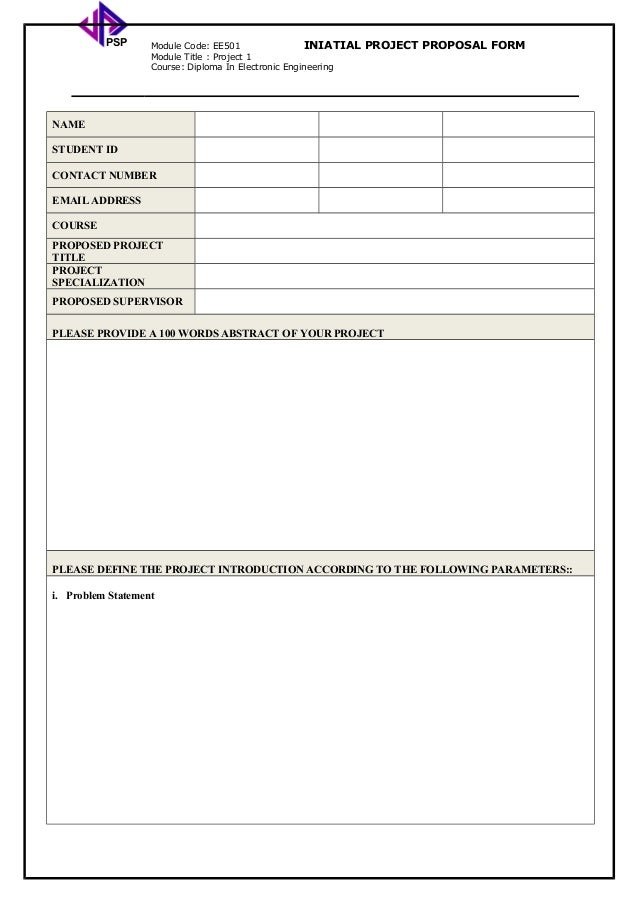 Project Proposal Form New