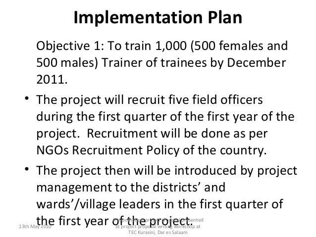 Sample of a Community Development project proposal writing