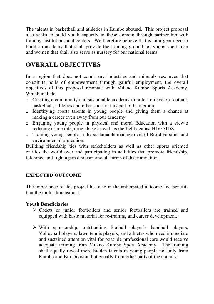sports proposal sample