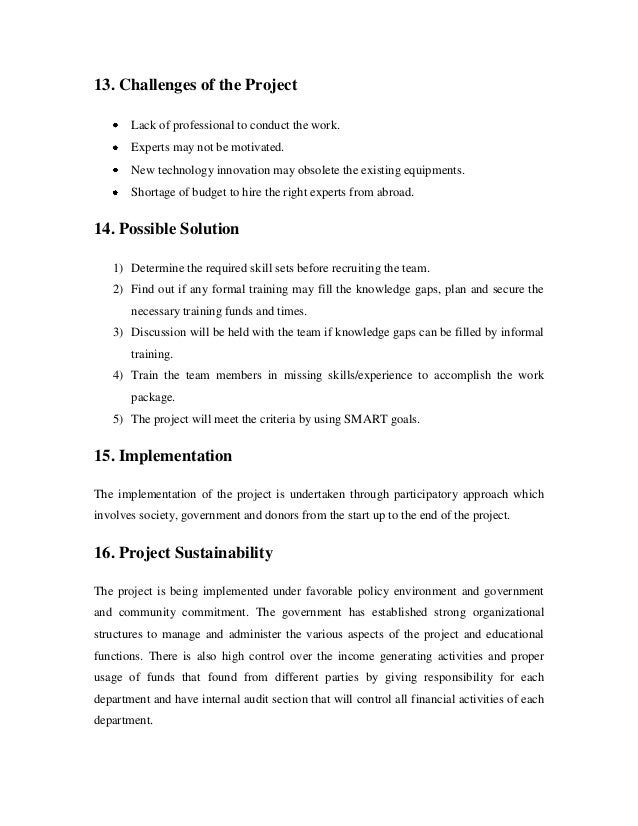 Project proposal on income gemerating 1 – Professional Project Proposal