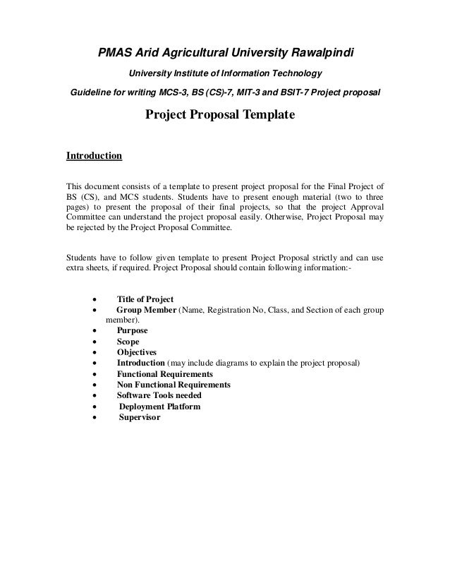 PMAS Arid Agricultural University Rawalpindi University Institute Of  Information Technology Guideline For Writing MCS 3 Project Proposal ...