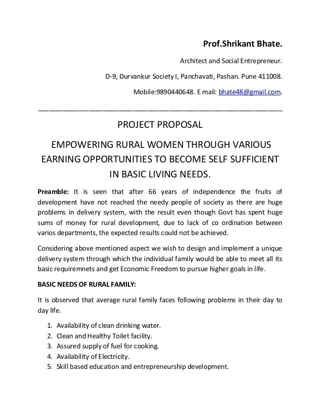 Project proposal to empower rural families through self sufficiency – Project Proposal Example