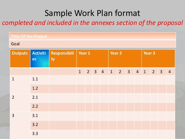 Sample Work Plan Format ...