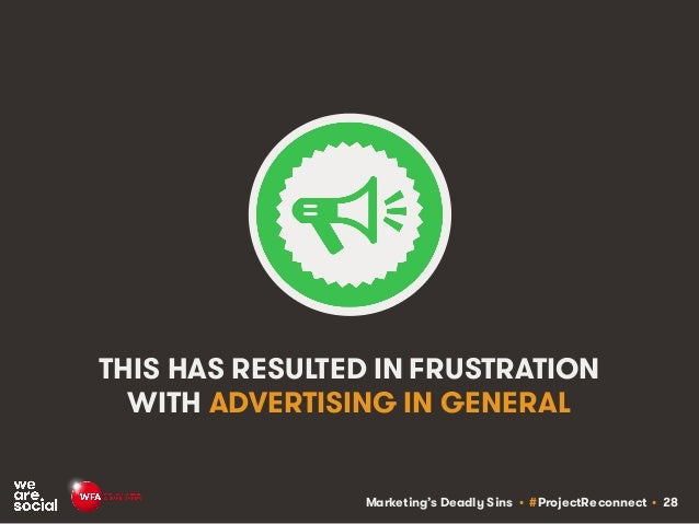 Marketing's Deadly Sins • #ProjectReconnect • 28 THIS HAS RESULTED IN FRUSTRATION WITH ADVERTISING IN GENERAL