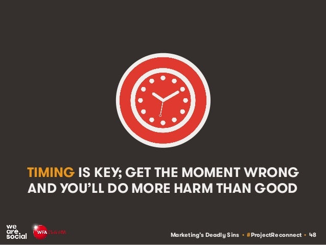 Marketing's Deadly Sins • #ProjectReconnect • 48 TIMING IS KEY; GET THE MOMENT WRONG AND YOU'LL DO MORE HARM THAN GOOD