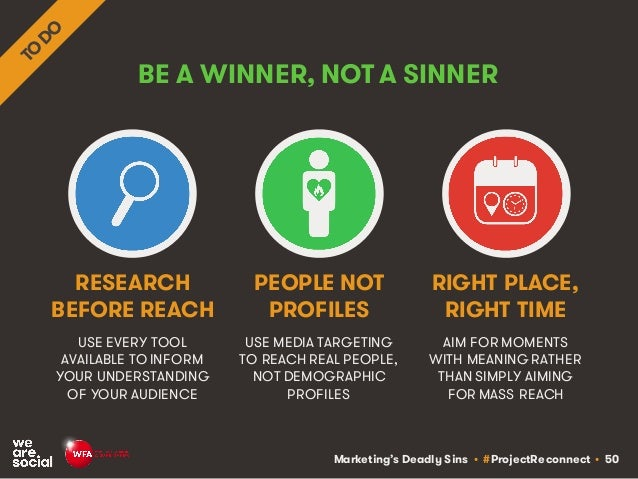 Marketing's Deadly Sins • #ProjectReconnect • 50 BE A WINNER, NOT A SINNER USE EVERY TOOL AVAILABLE TO INFORM YOUR UNDERST...