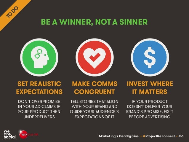 Marketing's Deadly Sins • #ProjectReconnect • 56 BE A WINNER, NOT A SINNER DON'T OVERPROMISE IN YOUR AD CLAIMS IF YOUR PRO...
