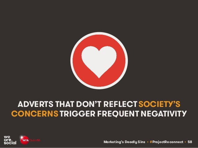 Marketing's Deadly Sins • #ProjectReconnect • 58 ADVERTS THAT DON'T REFLECT SOCIETY'S CONCERNS TRIGGER FREQUENT NEGATIVITY