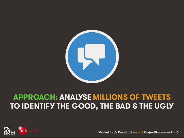 Marketing's Deadly Sins • #ProjectReconnect • 6 APPROACH: ANALYSE MILLIONS OF TWEETS TO IDENTIFY THE GOOD, THE BAD & THE U...