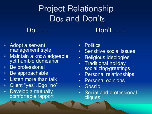 Dos And Don Ts Of A Relationship