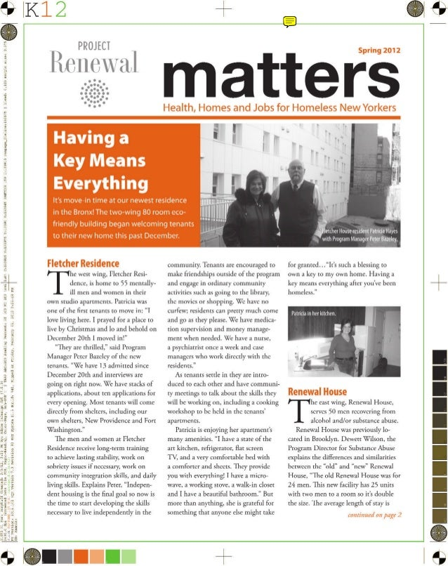 Spring 2012: Project Renewal Matters