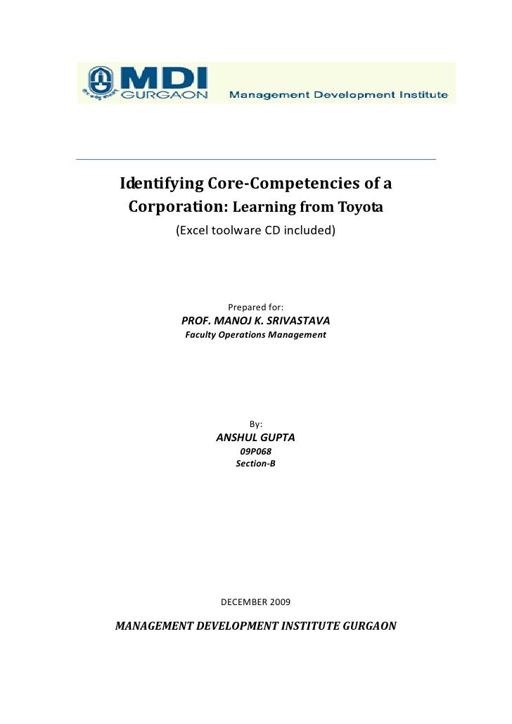 Identifying Core-Competencies of a  Corporation: Learning from Toyota         (Excel toolware CD included)                ...