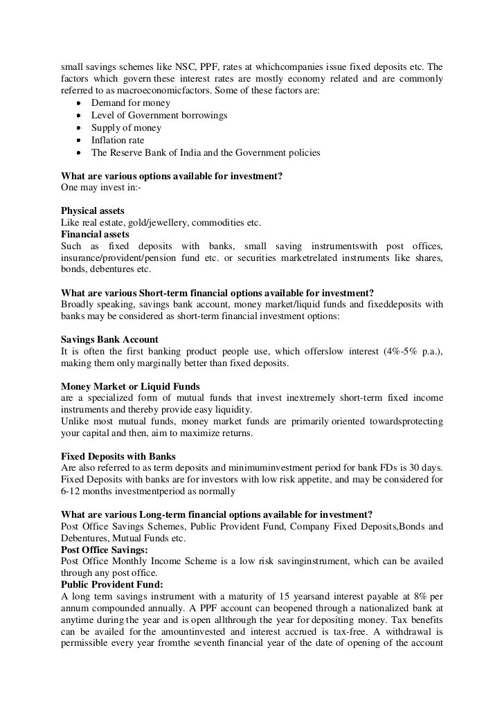 Internship report - Post office savings bonds interest rates ...