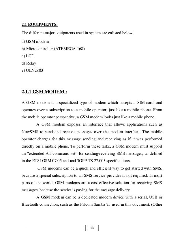 GSM BASED DEVICES CONTROL SYSTEM PROJECT REPORT