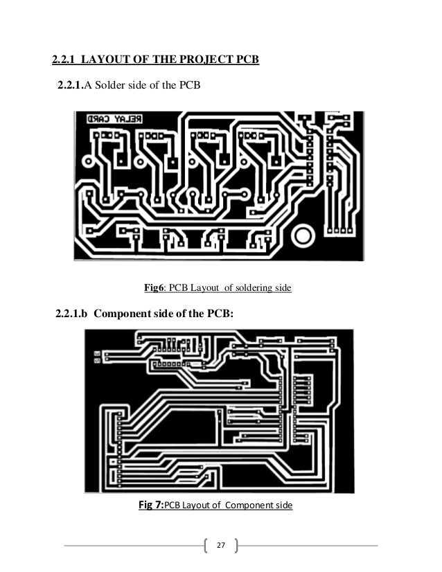 27 2.2.1 LAYOUT OF THE PROJECT PCB 2.2.1.A Solder side of the PCB Fig6: PCB Layout of soldering side 2.2.1.b Component sid...