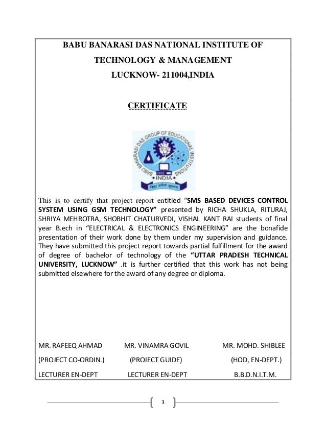 3 BABU BANARASI DAS NATIONAL INSTITUTE OF TECHNOLOGY & MANAGEMENT LUCKNOW- 211004,INDIA CERTIFICATE This is to certify tha...
