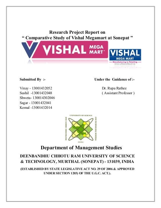 literature review of vishal mega mart