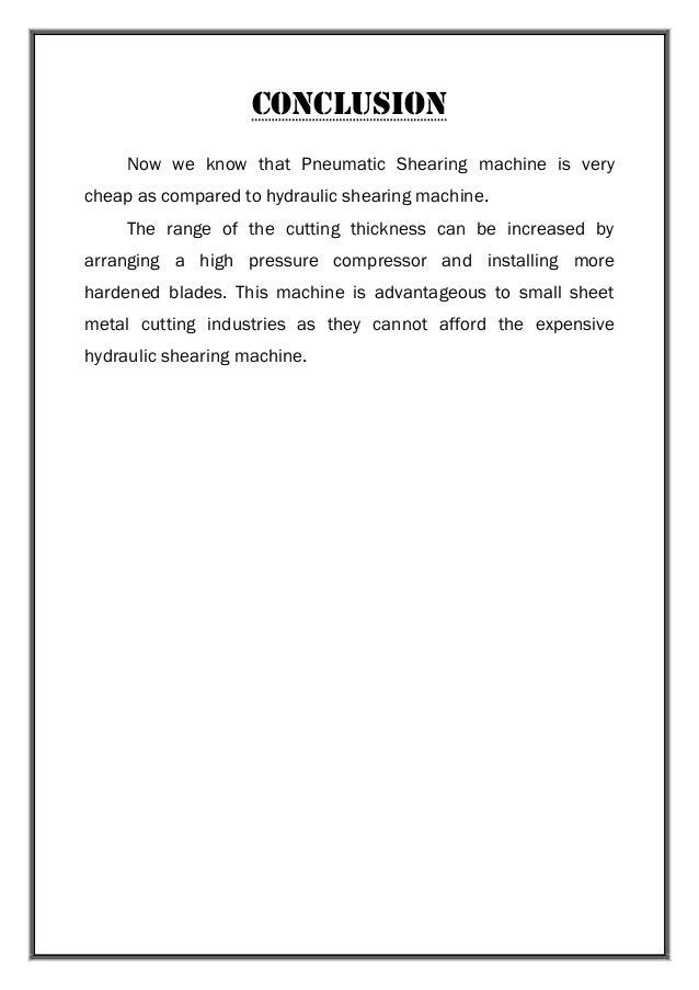 Pneumatic Sheet Metal Shearing Machine Project Report