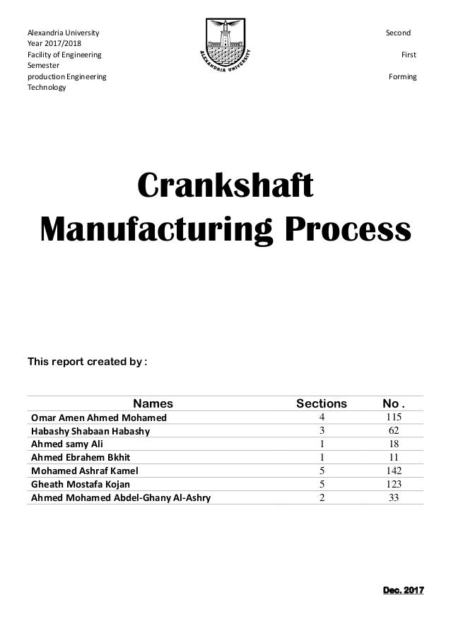 Crankshaft Manufacturing Project Report