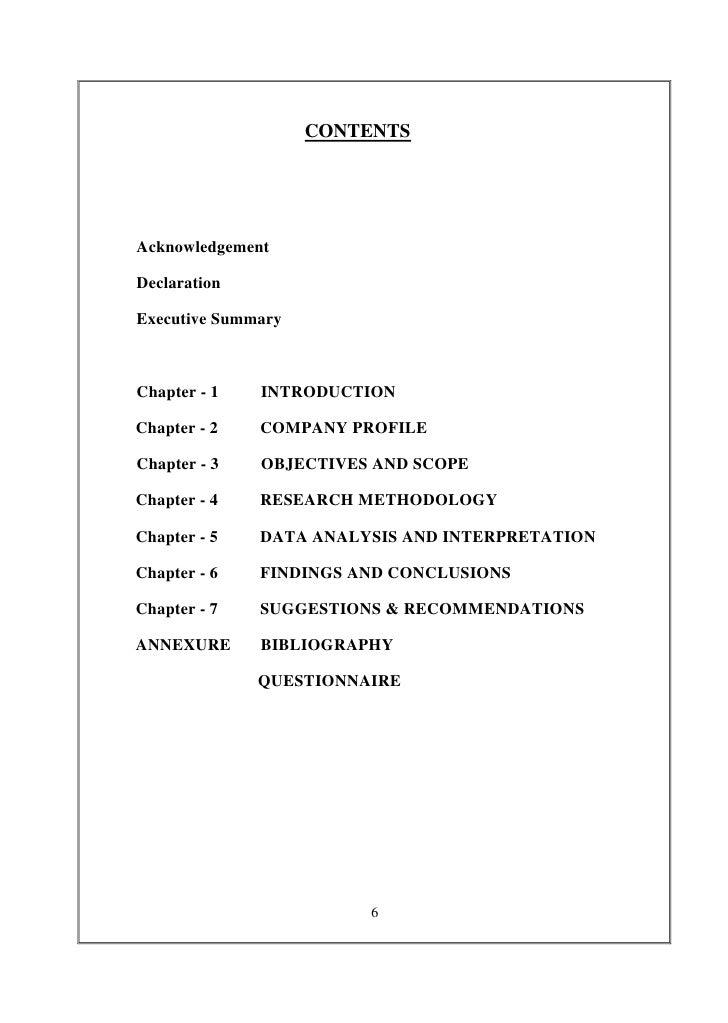 CONTENTSAcknowledgementDeclarationExecutive SummaryChapter - 1   INTRODUCTIONChapter - 2   COMPANY PROFILEChapter - 3   OB...