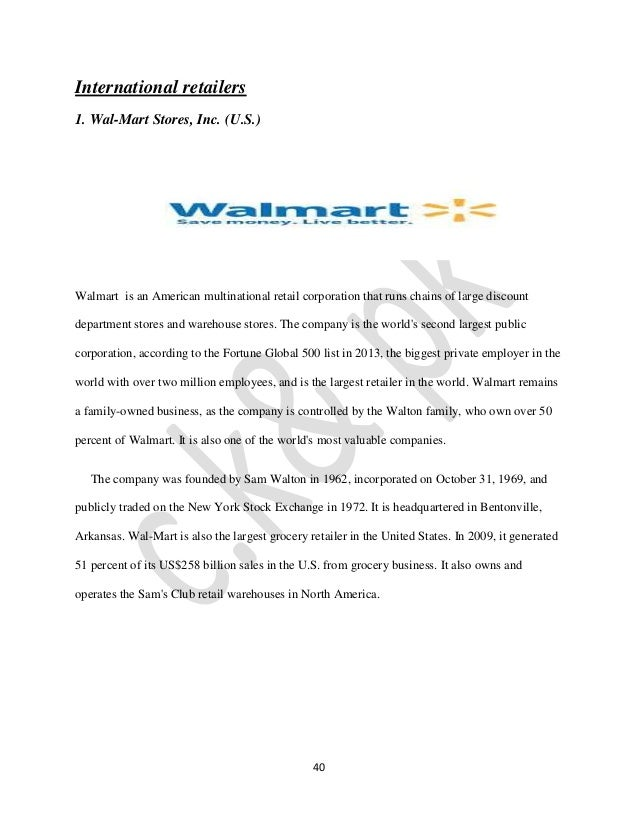 wal mart dominating global retail essay Wal-mart founded by this is the first accomplishment that sales reached $100 billion within a quarter in the retail wal-mart stores inc: dominating global.