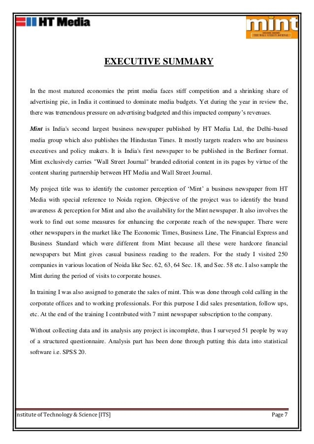 Project report on HT Media Ltd MINT – Executive Summary Format for Project Report