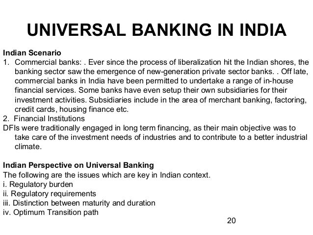 project on universal banking 1 table of content srno topic page no 1 executive summary 2 introduction 3 history 4 definition and concepts 5 universal banking model 6 advantages & limitati.