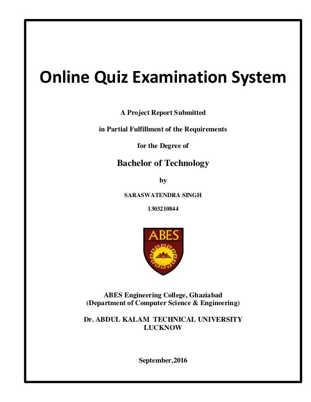 Online Examination System Project Pdf