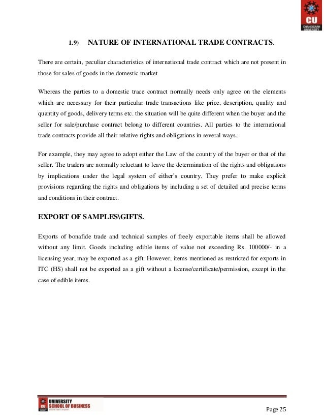 Export Import And Documentation Project Report – Export Contract