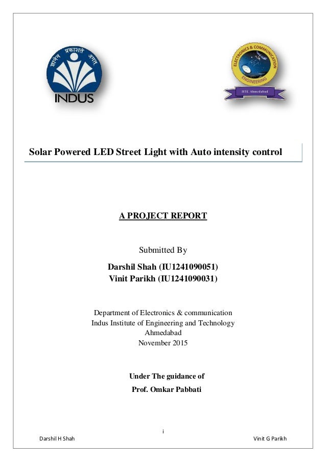 Final Project Report On Solar Street Light