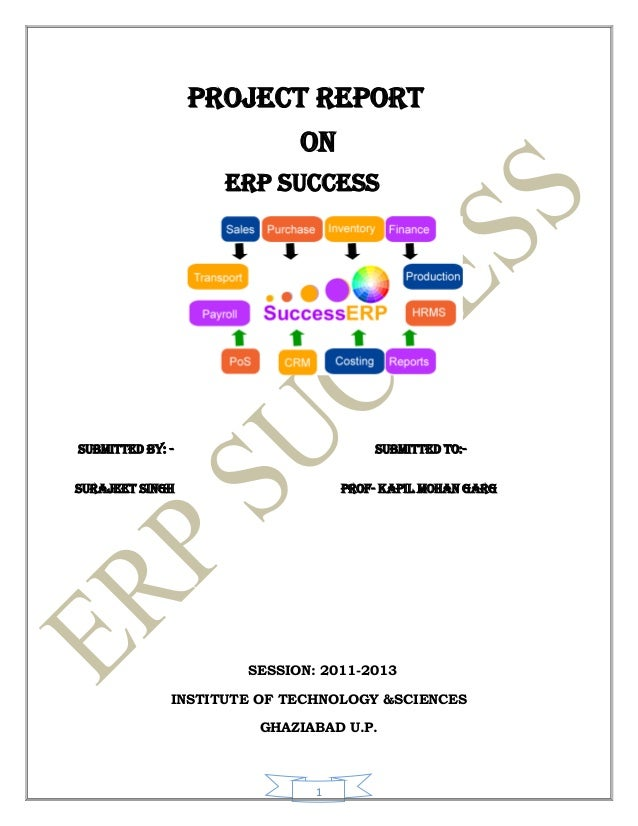 PROJECT REPORT                            ON                    ERP SUCCESSSUBMITTED BY: -                       SUBMITTED...