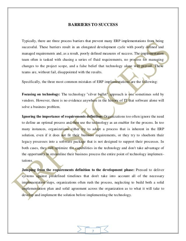 Project report erp success