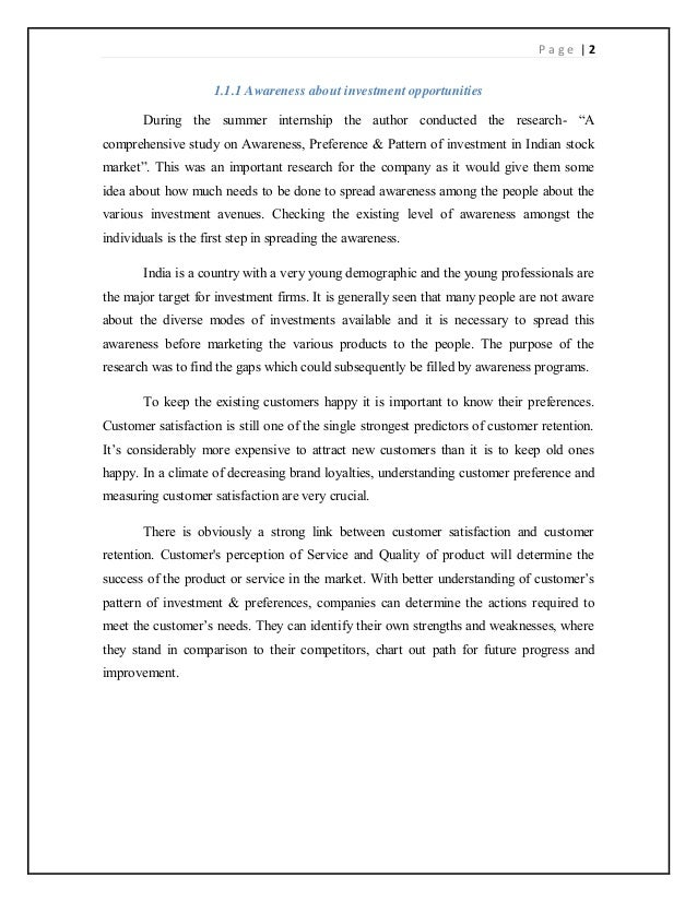 """investors preferences towards various investment avenues in capital market To take decision of investment the problem statement in this research study is """" investment and trading pattern of investors dealing in stock market"""" 32 objectives of the study the main objective of the study is to know literacy and total awareness of current capital market among different investment avenues and their."""