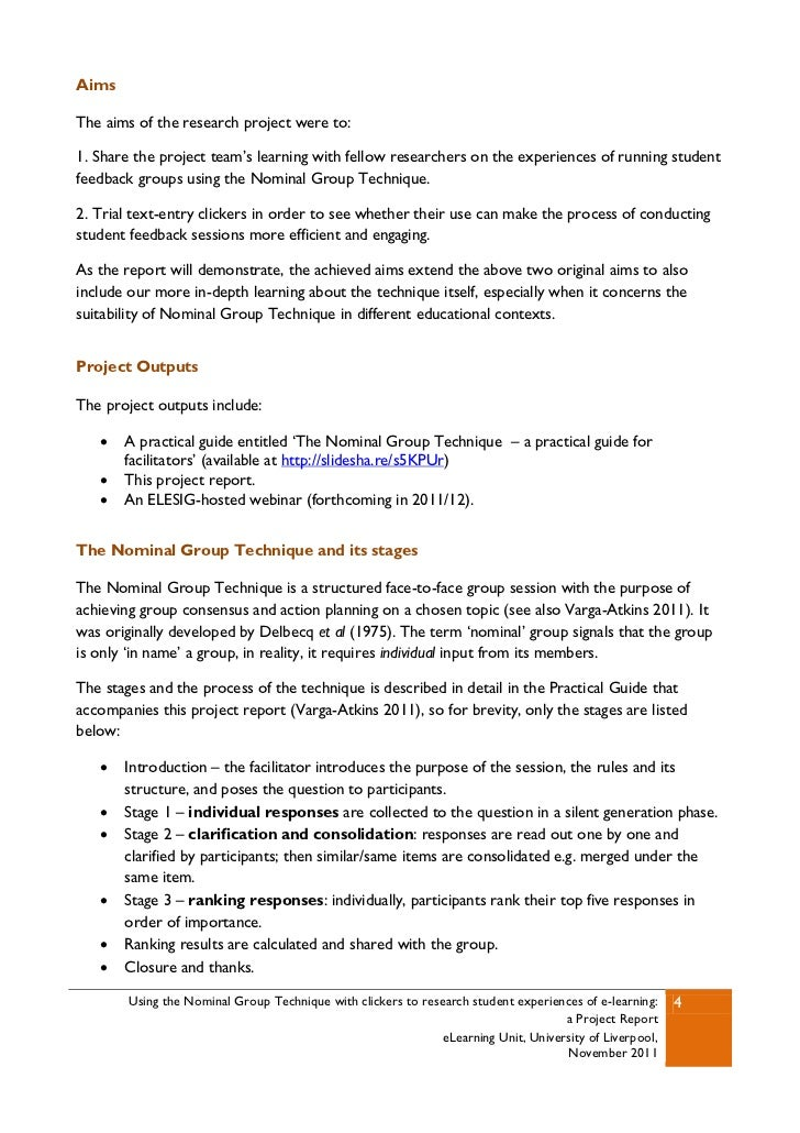 report on a group research project Suggestions for writing the action research report what impact did your research notebook group have on the every action research project results in the.