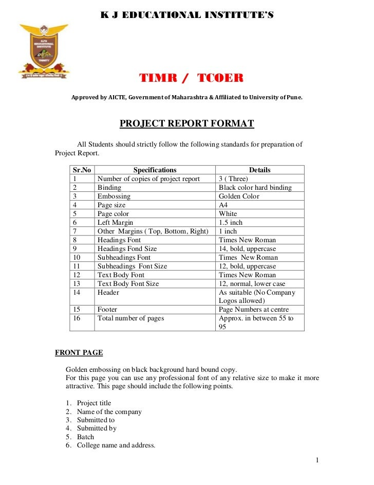 Project Report Format. K J EDUCATIONAL INSTITUTEu0027S TIMR / TCOER Approved By  AICTE, ...