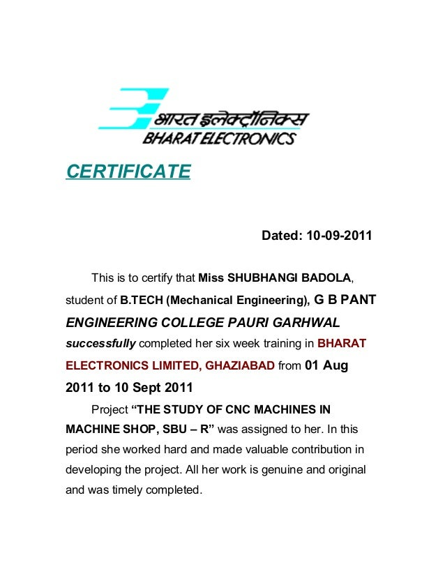 Project report mechanical bel ghaziabad certificate yelopaper Images