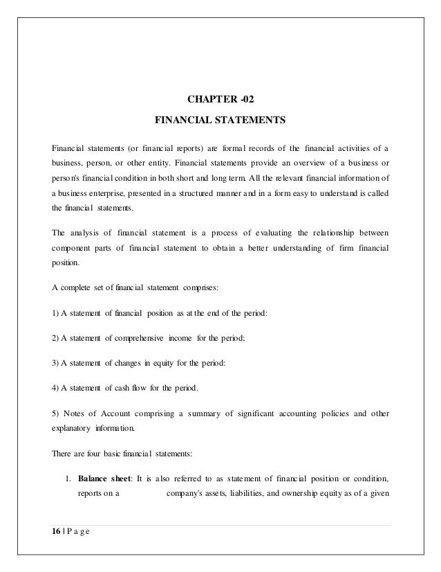 Project report on Financial Statement Analysis and interpretation of – Company Financial Analysis Report Sample