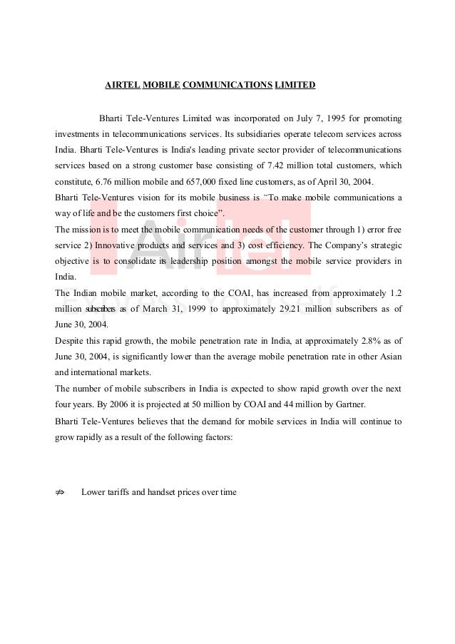 project report on bharti airtel Source of data for this project are both primary and secondary  telecom giant  bharti airtel is the flagship company of bharti enterprises the bharti group, has .