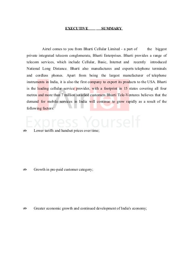 project report on airtel Mba project report and case studies in bharti airtel company profile bharti airtel limited's airtel is india's largest integrated and the first private telecom services provider with a footprint in all the 23 telecom circles.