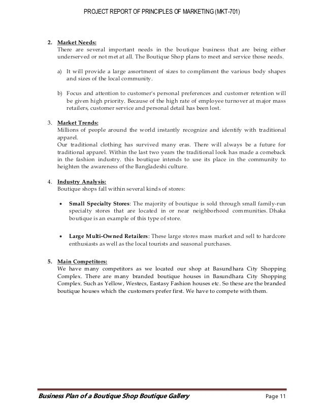 Project report on boutique shop
