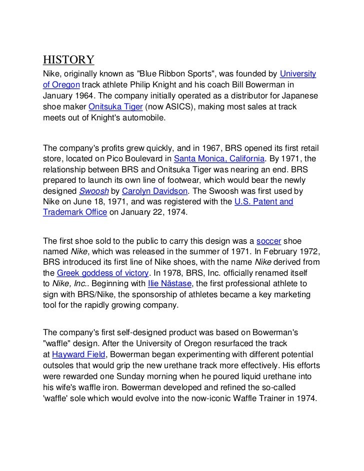 project report on nike