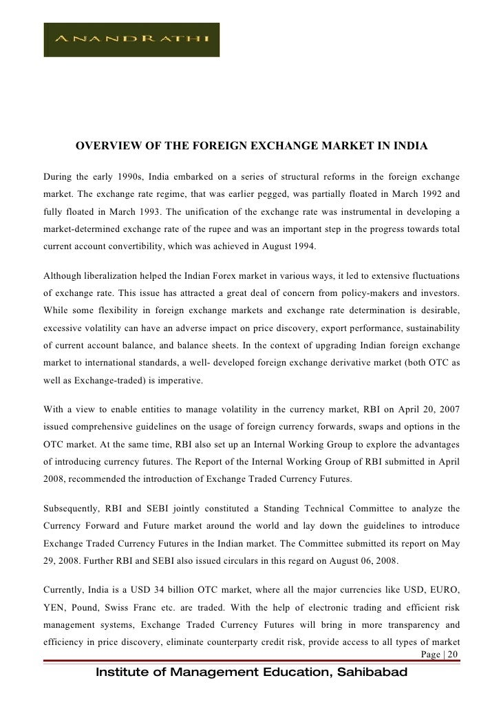 project report on currency derivatives This research project report has been submitted for examination with my  approval as the university  113 effect of currency derivatives on firm value.